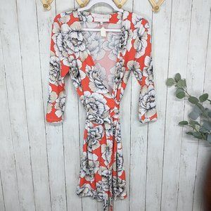 Charles Henry Orange and White Floral Wrap Dress